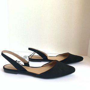 Merona Black Faux Suede Flat Sling Back Shoes